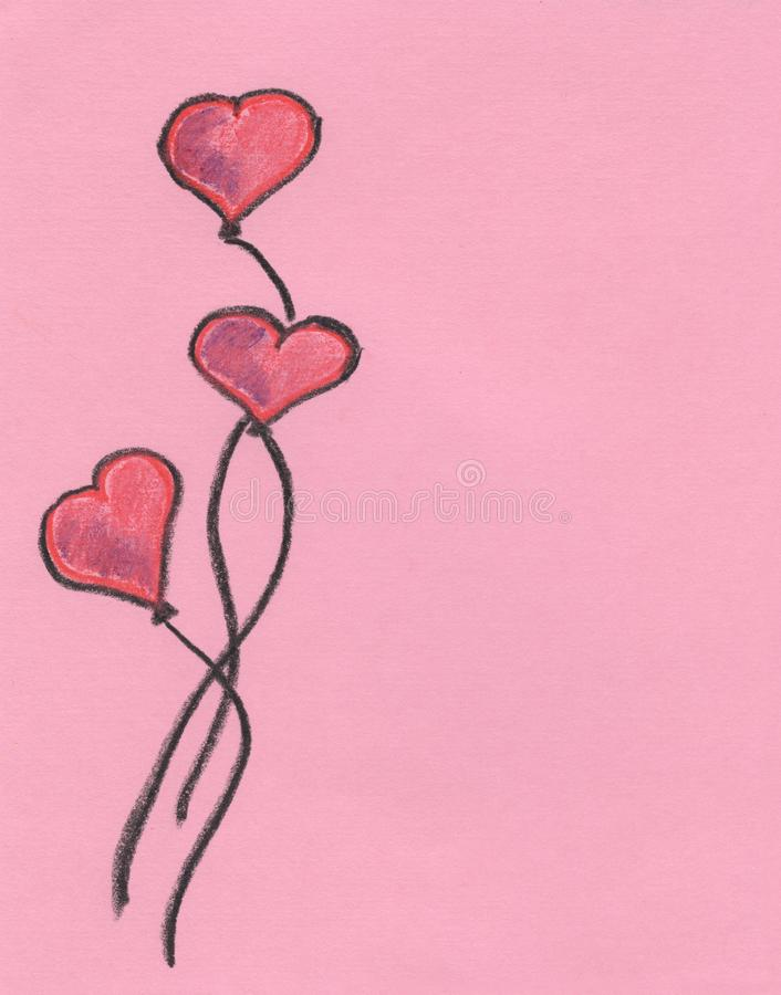 Three hearts on a pink background, red hearts, valentine`s day, pencil drawing royalty free stock photos