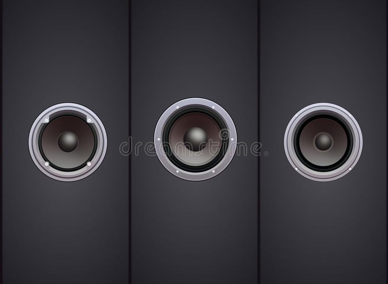 Three Hi-fi Speakers Front View Royalty Free Stock Photography