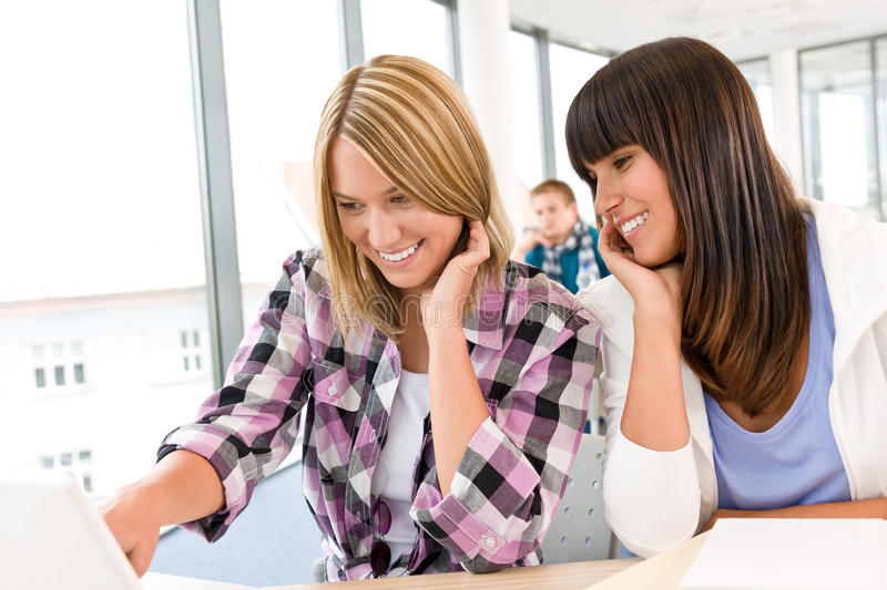 Download Three High School Students In Classroom Royalty Free Stock Photography - Image: 16032807