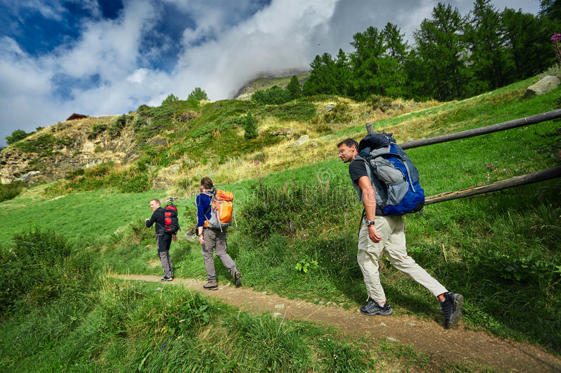 Three hikes in the Swiss mountains stock images