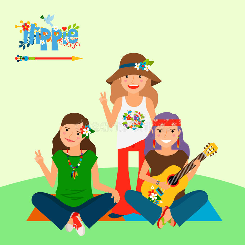 Three hippie girls and guitar royalty free illustration