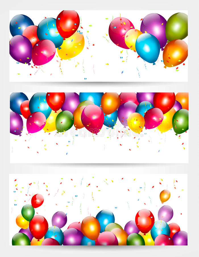 Three holiday birthday banners with balloons. stock illustration