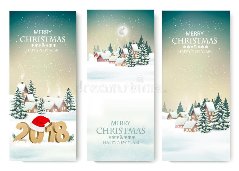 Three Holiday Christmas banners with a winter village and 2018. stock illustration