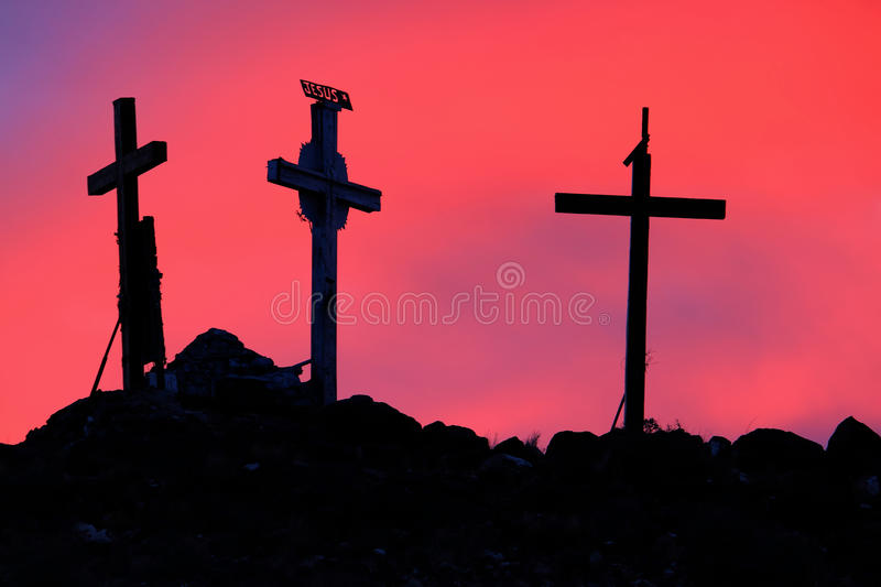 Download Three Holy Crosses In Sunrise Royalty Free Stock Photography - Image: 22736137