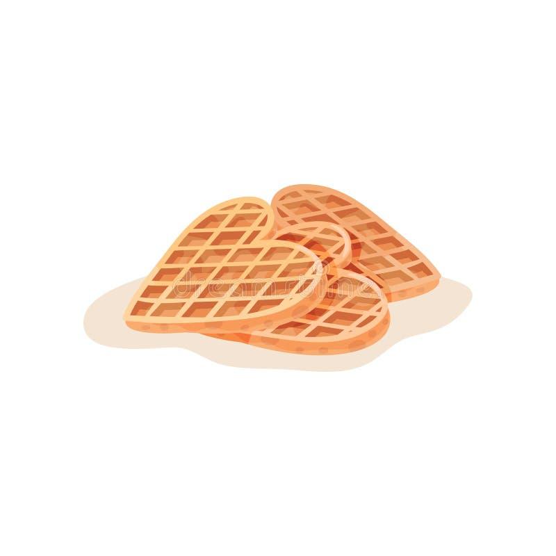 Three homemade heart-shaped waffles. Freshly baked snack for breakfast. Flat vector element for cafe menu or pastry shop. Three homemade heart-shaped waffles stock illustration