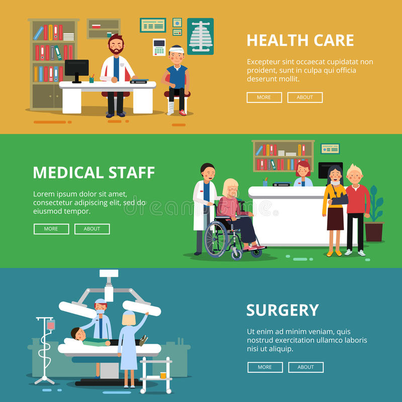 Three horizontal vector banners of healthcare concept pictures. Medical rooms and offices in hospital. Patients and stock illustration