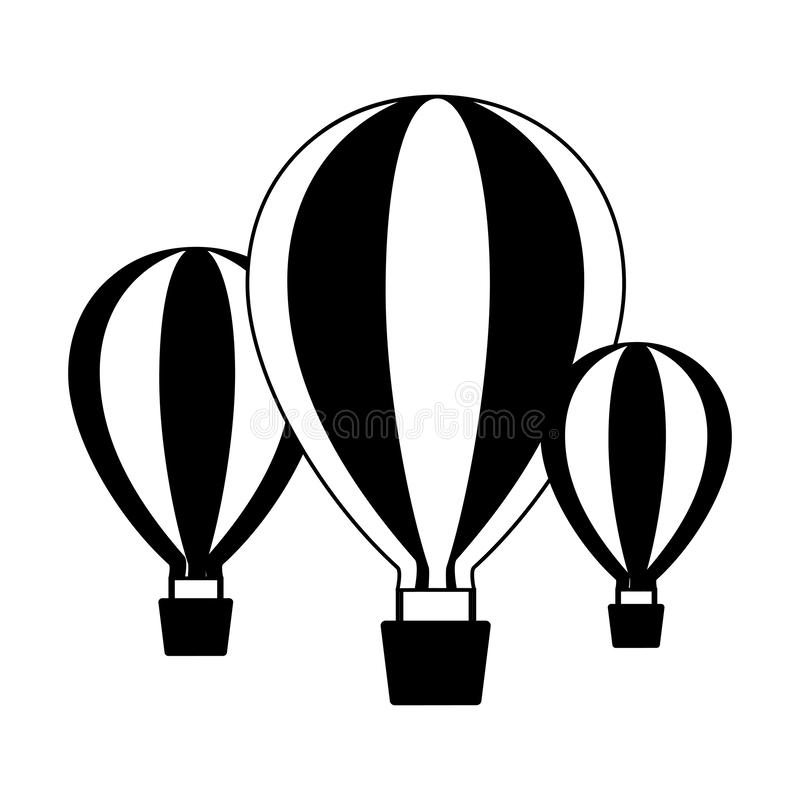 Three hot air balloons vector illustration