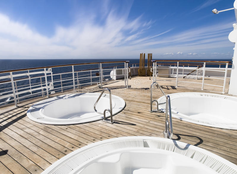 Three Hot Tub On The Deck Of A Cruise Royalty Free Stock Photos