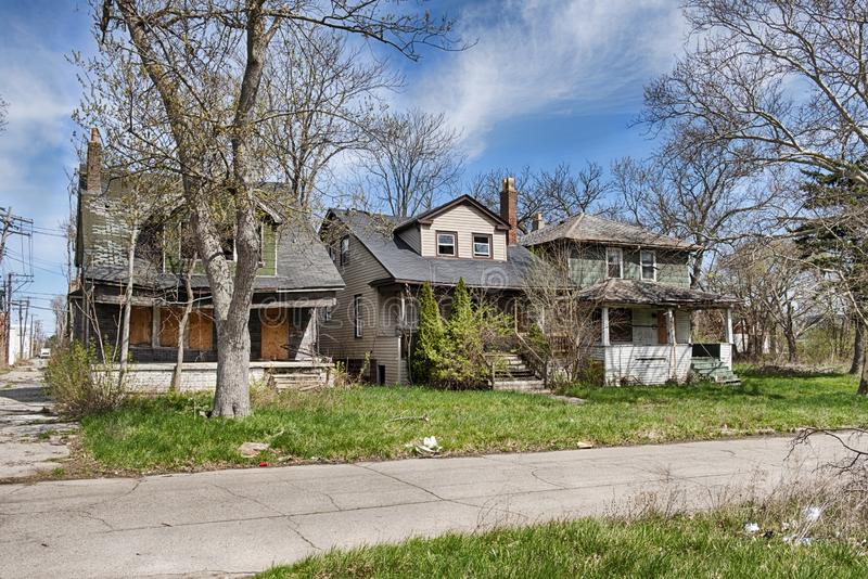 Three Houses In Detroit stock image