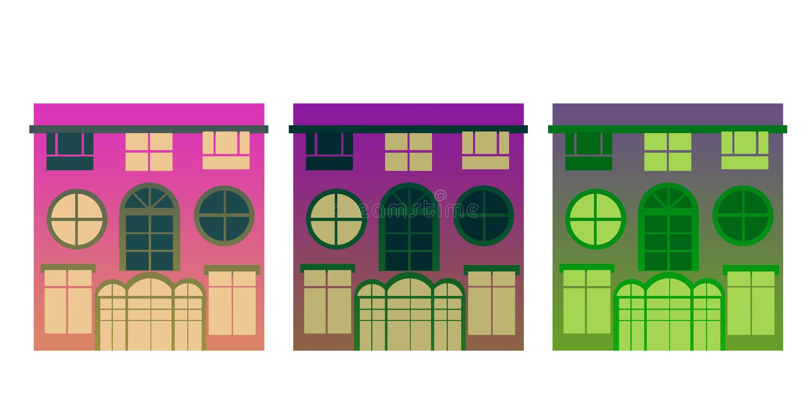 Three houses isolated violet colors. Simple shapes, no delineated, base color gradient stock illustration