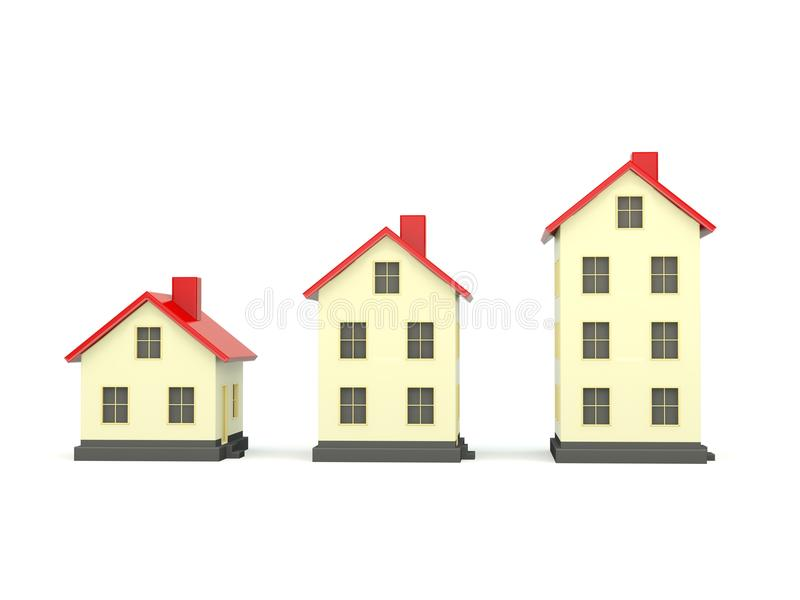 Three houses with red roof