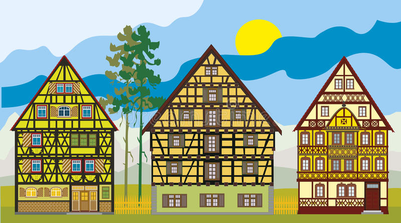 Three Houses In A Row Stock Photo
