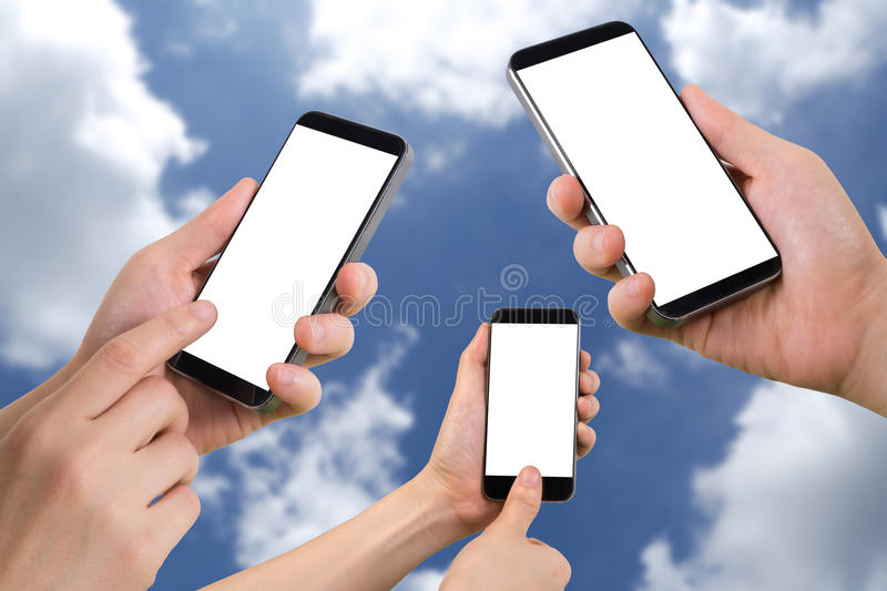 Three human hand hold, touch and fingerprint scan on smartphone with blank screen on cloudy sky background. stock photos