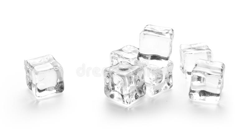 Three ice cubes on white. Background stock photography