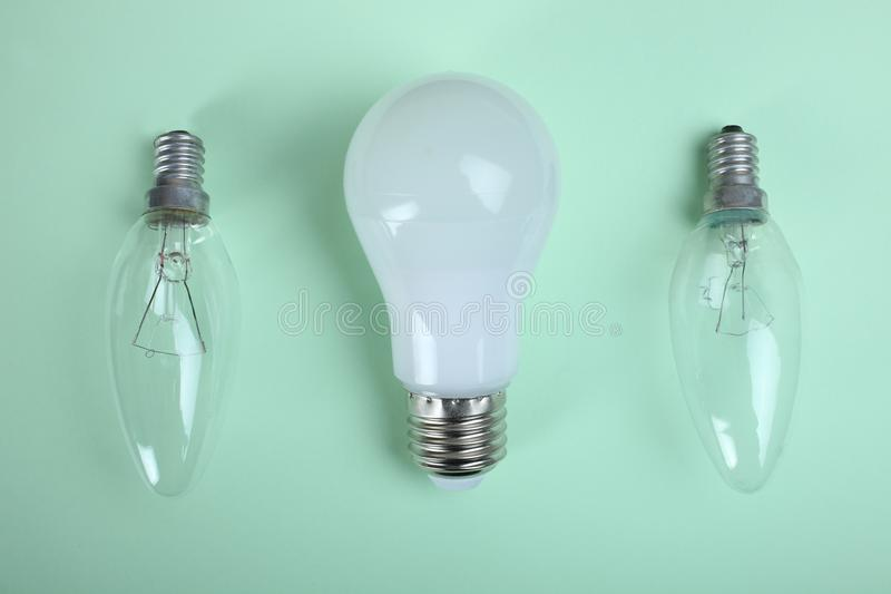 Three incandescent lamps stock photography