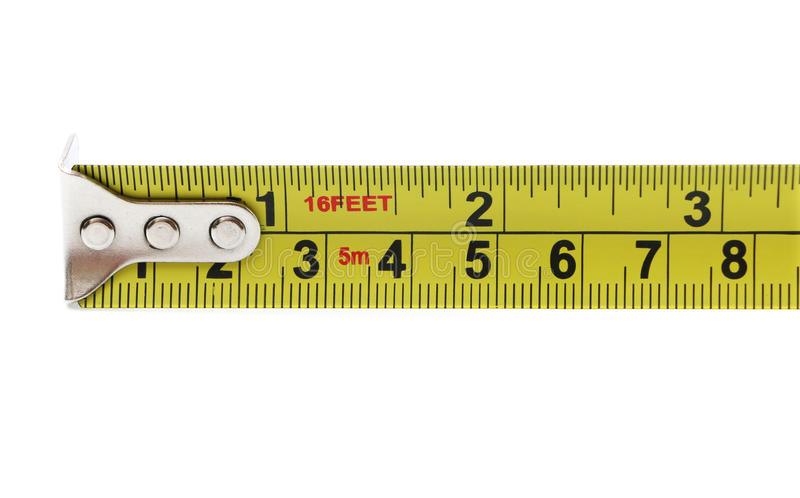 Three Inches. On a tape measure, isolated on a white background stock images