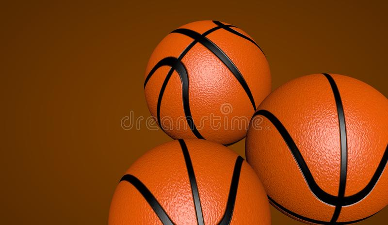 Three indoor basketball balls to play. 3D render, 3D illustration stock illustration