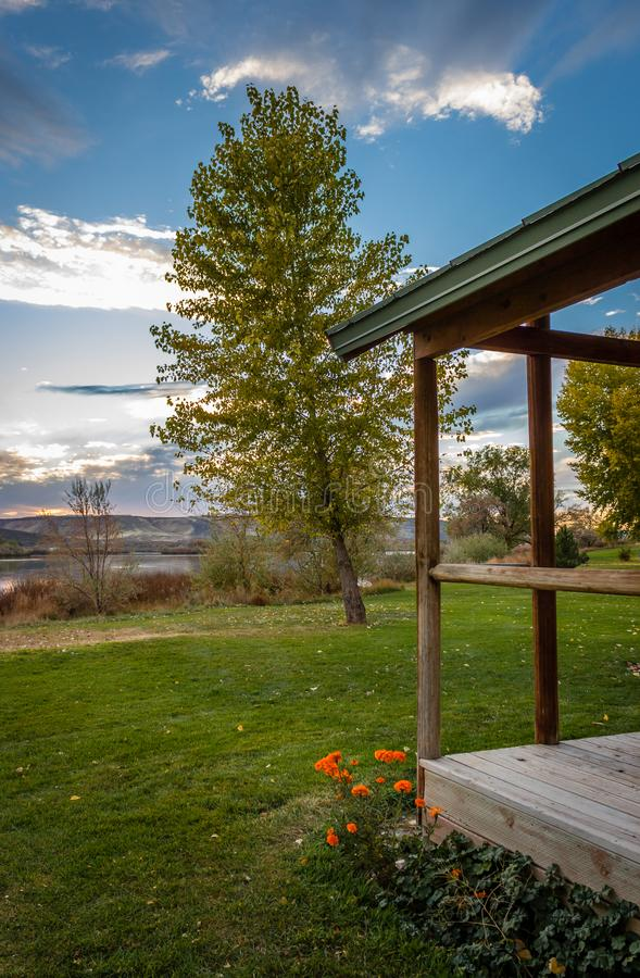 Three Island Crossing Cabin. The sun setting at a cabin Three Island Crossing State Park, Idaho, USA stock images