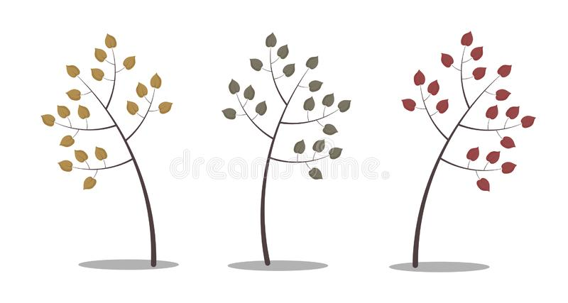 Three isolated autumn trees with leaves of different colours. Three isolated autumn trees with leaves of different colours: yellow, green and red. White stock illustration