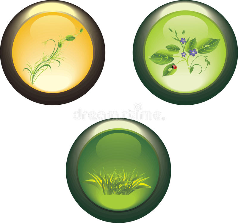 Three Isolated Buttons With Spring Compositions Stock Photo