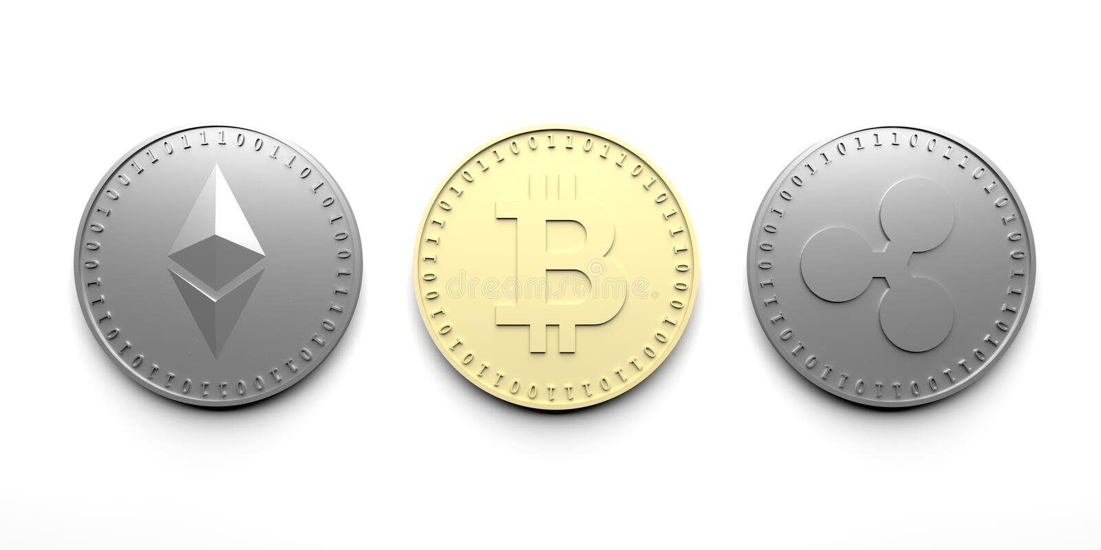 Three isolated coins on a white background - Bitcoin, Ethereum, Ripple, 3D rendering. vector illustration