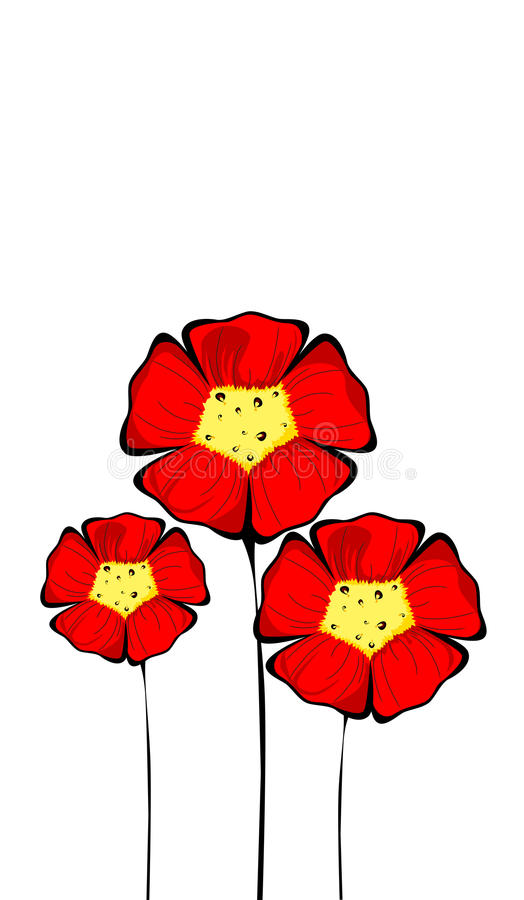 Download Three Isolated Colorful Red Flowers Stock Photos - Image: 25613263