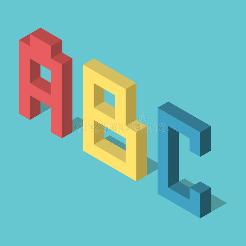 Three isometric ABC letters. Three colored isometric ABC letters standing on turquoise blue background. Flat design. EPS 8 compatible vector illustration, no vector illustration