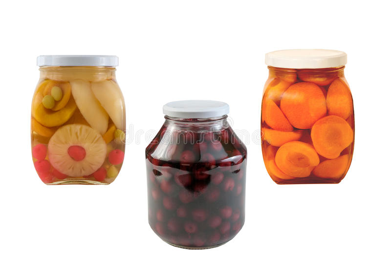 Three Jars of preserved fruits royalty free stock images