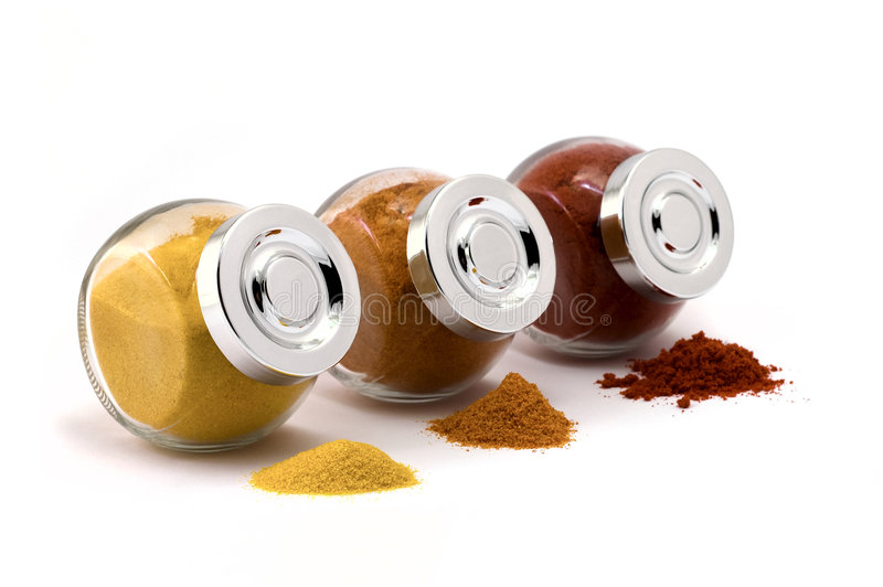 Three jars with spices royalty free stock image