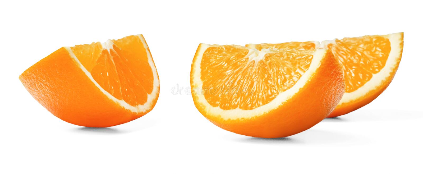 Three juicy fresh orange slices with peel on a white isolated background. Close up. Side view stock images