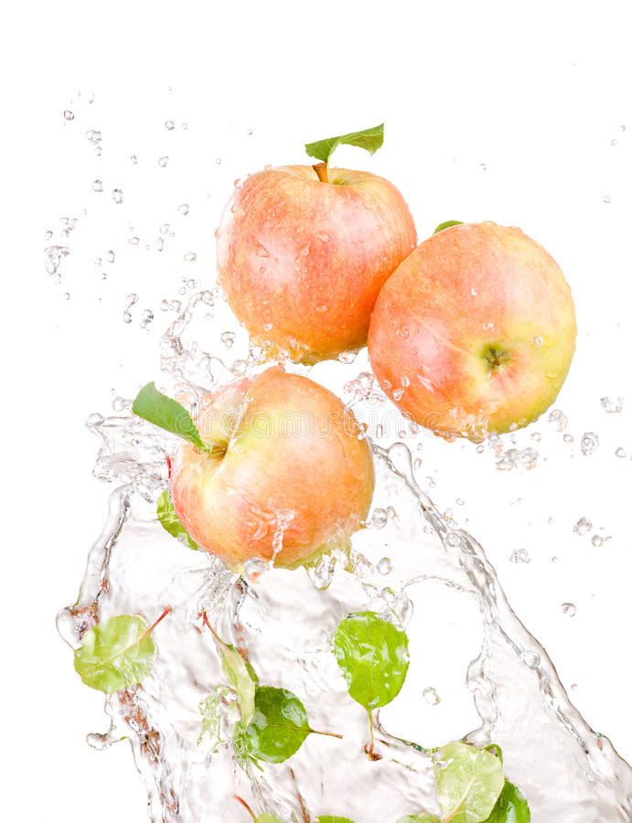 Three juicy red apple in water splash isolated stock photos
