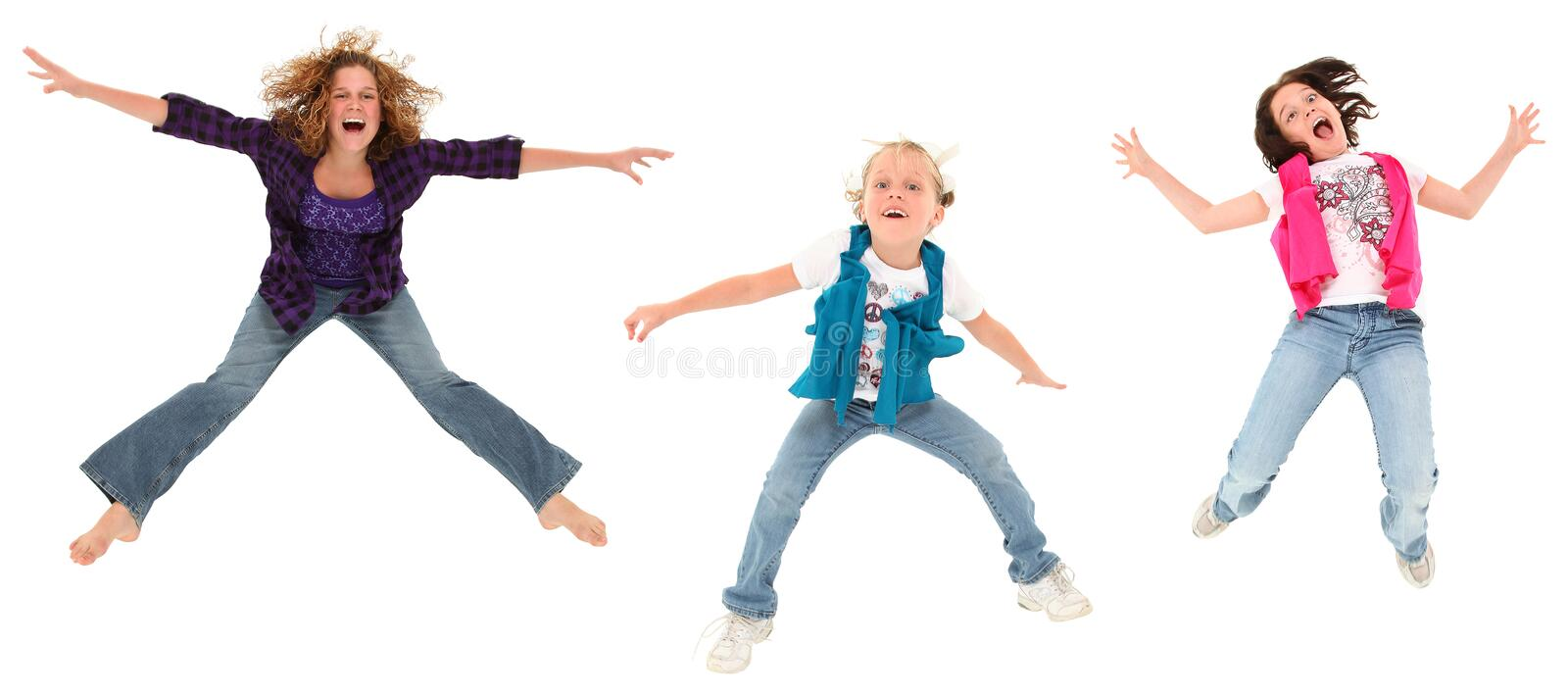 Download Three Jumping Sisters stock image. Image of funny, humor - 15904845