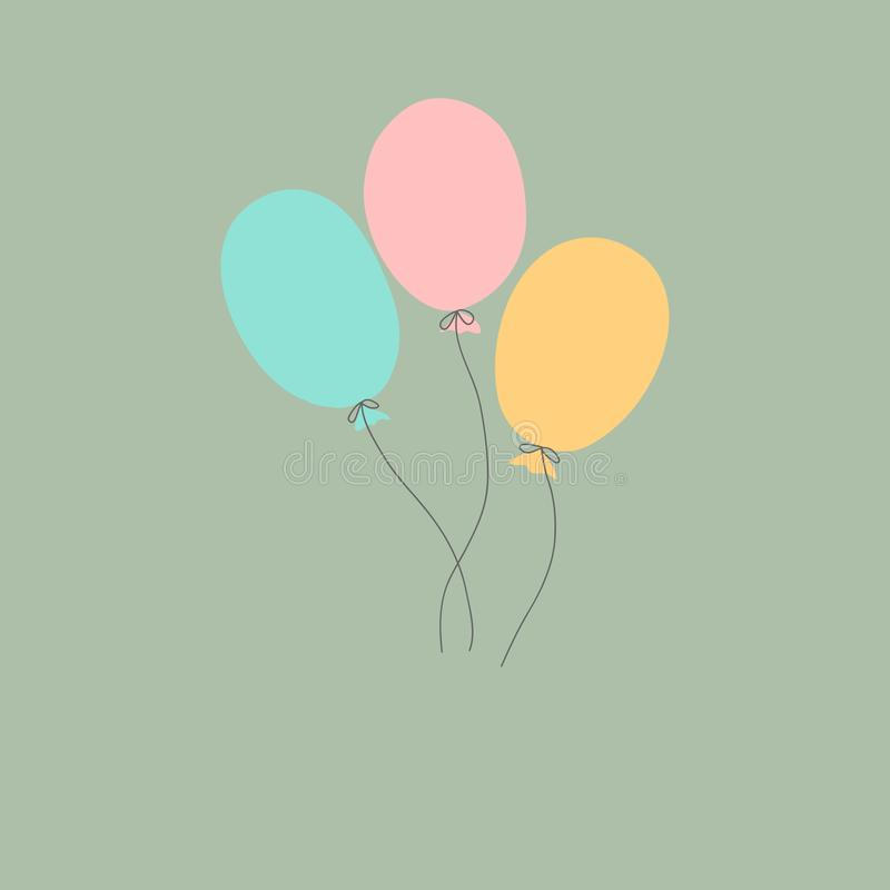 Three kawaii style doodle air balloons of pastel pink blue orange color on gray background. Vector birthday greeting card template. For kids adults with copy royalty free illustration