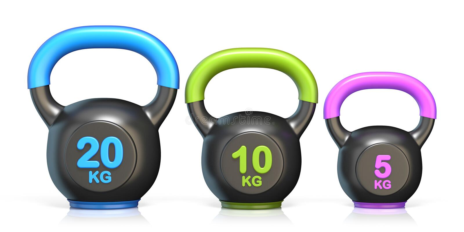 Three kettle bells 3D render illustration stock illustration