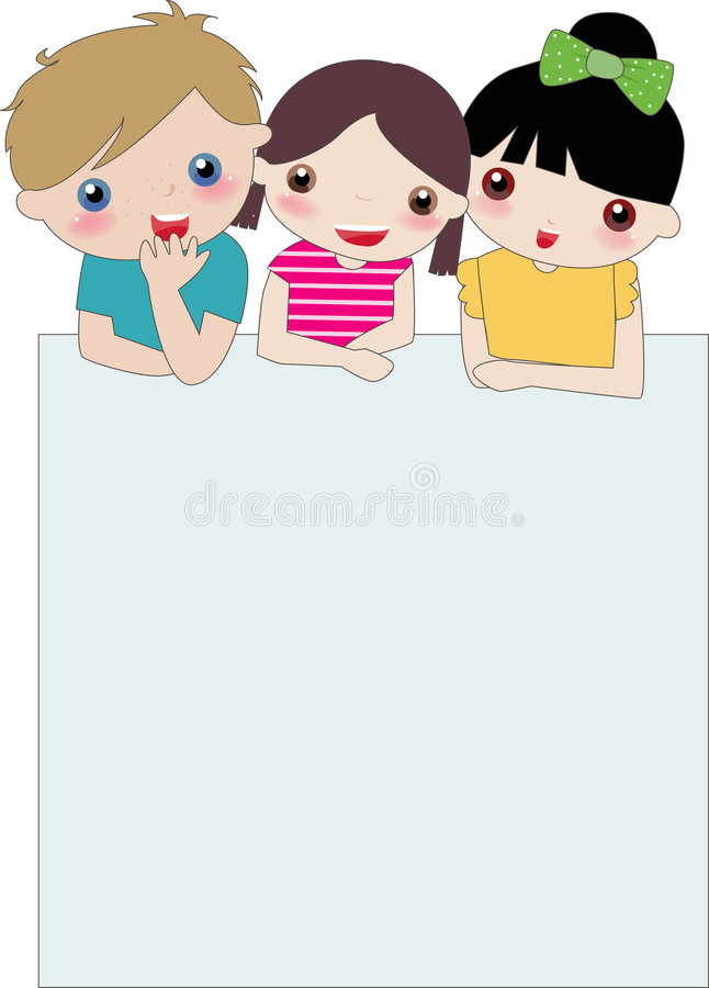 Three kids and banner royalty free illustration