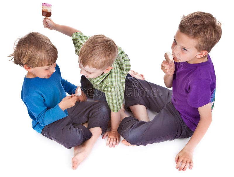 Download Three Kids Eating Ice Lolly Stock Photo - Image: 19776950