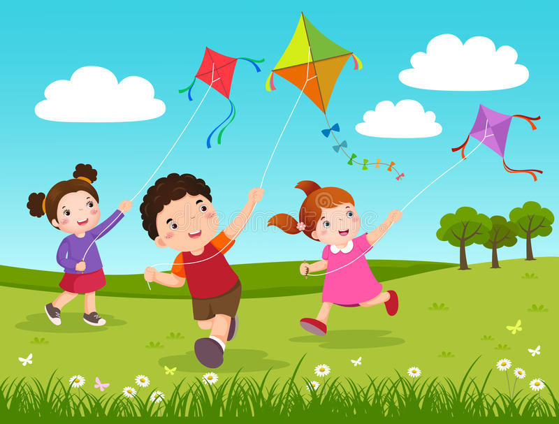 Download Three Kids Flying Kites In The Park Stock Vector - Illustration of  field, cute