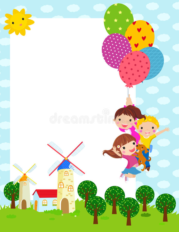 Download Three kids and frame stock vector. Image of drawing, design - 22033427