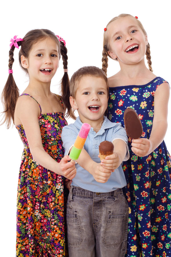 Download Three kids with ice cream stock photo. Image of popsicle - 25272538