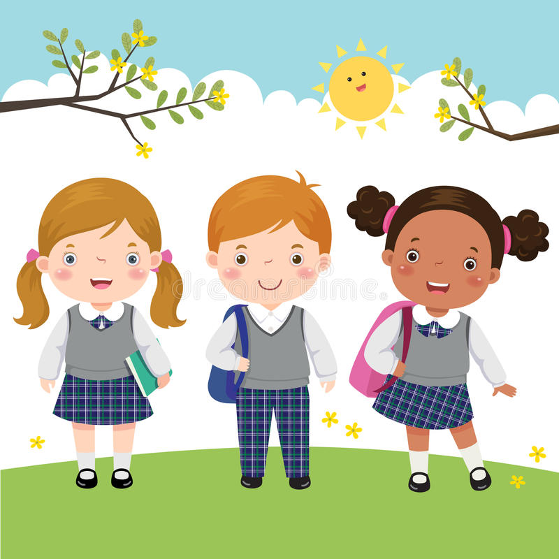 Free Three Kids In School Uniform Going To School Royalty Free Stock Images - 70085339