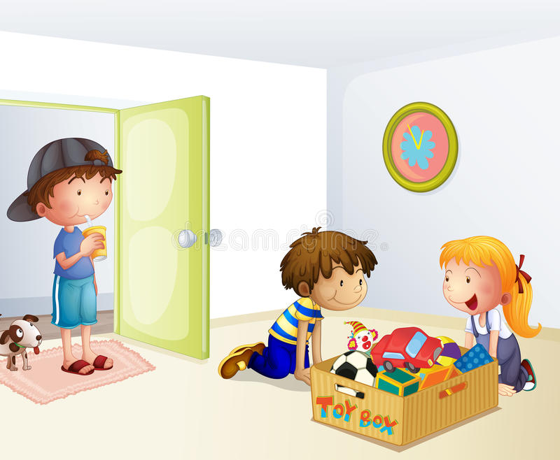 Three kids inside the house with a box of toys stock illustration