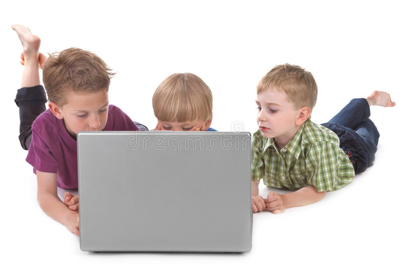 Download Three kids with laptop stock image. Image of education - 21061299