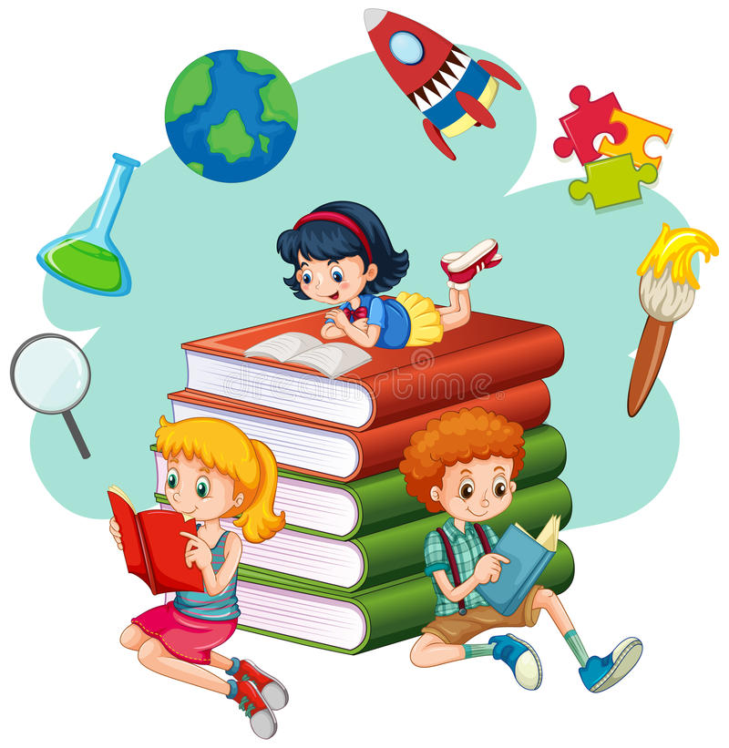 Free Three Kids Reading Books Royalty Free Stock Photo - 76864025