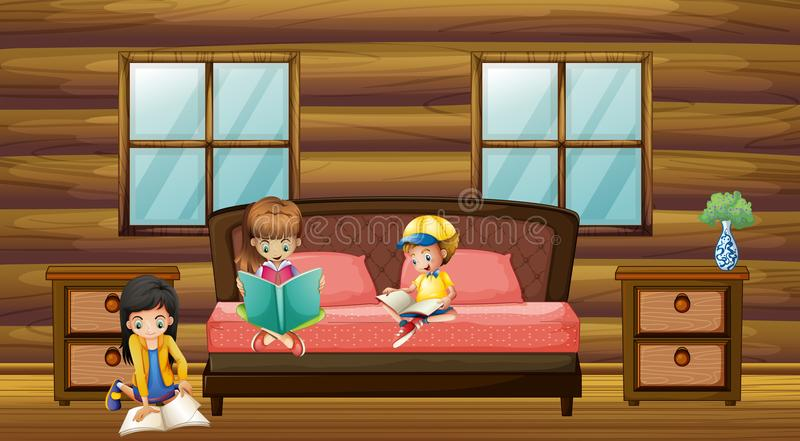 Three kids reading books in bedroom royalty free illustration