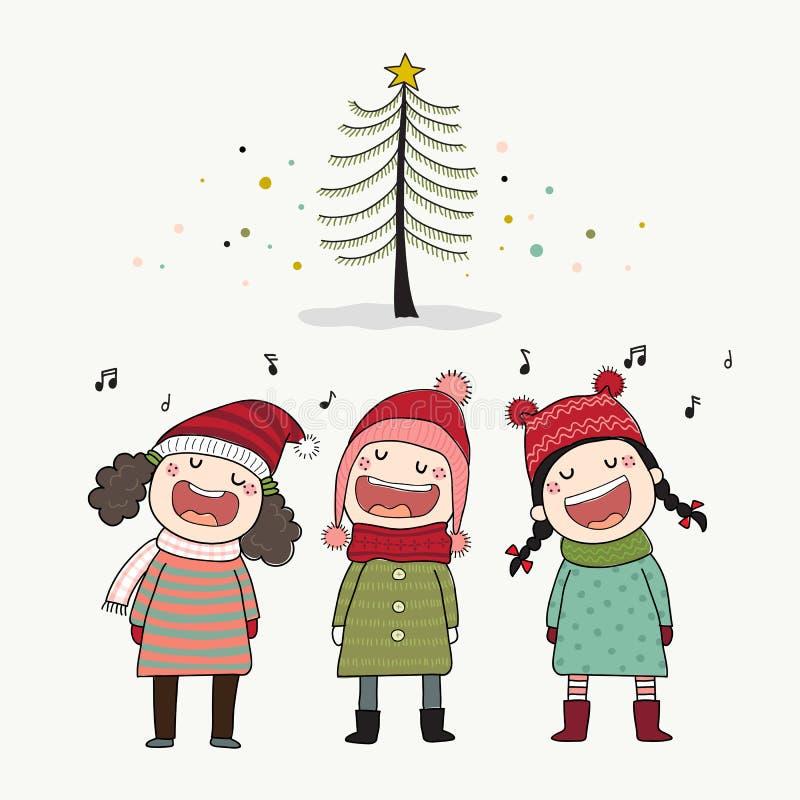 Three kids singing Christmas caroling with pine tree. vector illustration