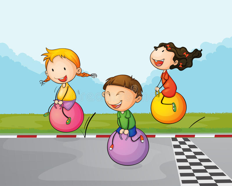 Three kids at the street with their bouncing balls. Illustration of the three kids at the street with their bouncing balls stock illustration