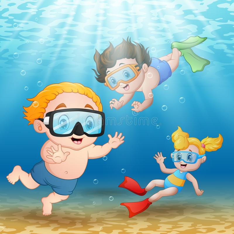 Three kids swimming and diving underwater. Illustration of Three kids swimming and diving underwater stock illustration