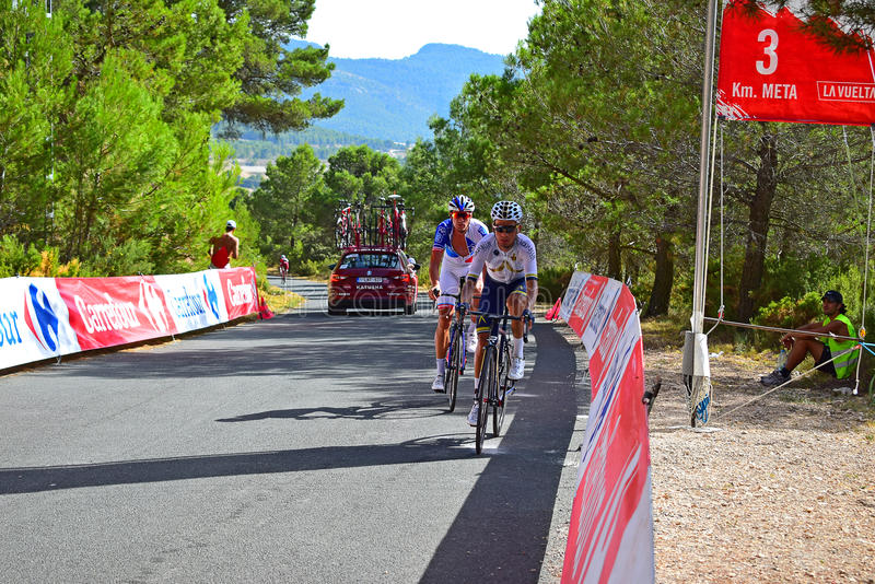 Three Kilometer Mark, Xorret De Cati La Vuelta España. Three Kilometres to the finish line for the riders taking on the famous 20% hill Xorret De Cati in the royalty free stock image