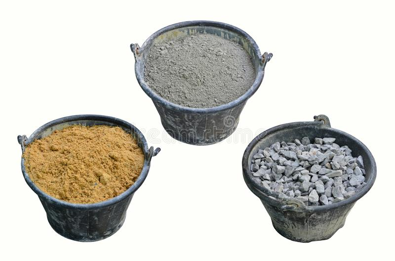 Three kind of material buckets for cement mixing royalty free stock images