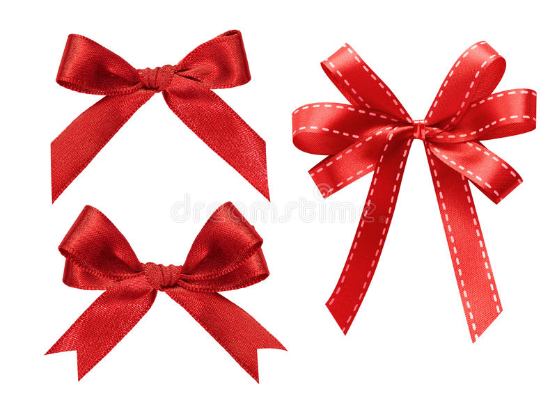 Three kind of red ribbon isolated on white royalty free stock photography